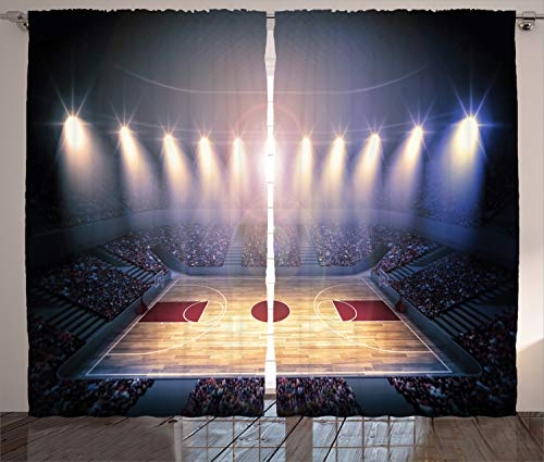 Ambesonne Basketball Curtains, Crowded Basketball Arena Just Before Game Starts School Tournament Theme, Living Room Bedroom Window Drapes 2 Panel Set, 108