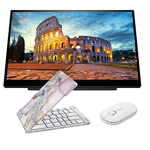 HP S14 FHD (1920 x 1080) Portable Travel Monitor Bundle with USB Type-C, Pink Gemstone Bluetooth Folding Wireless Keyboard, and White Pebble M350 Bluetooth Wireless Mouse