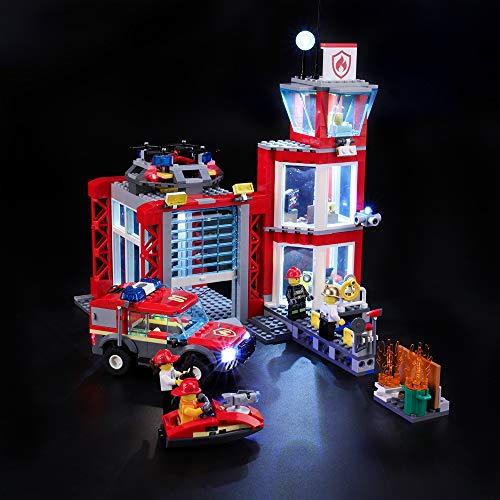 BRIKSMAX Kit de Iluminación Led para Lego City Fire Parque de Bomberos, Compatible con Ladrillos de Construcción Lego Modelo 60215, Juego de Legos no Incluido