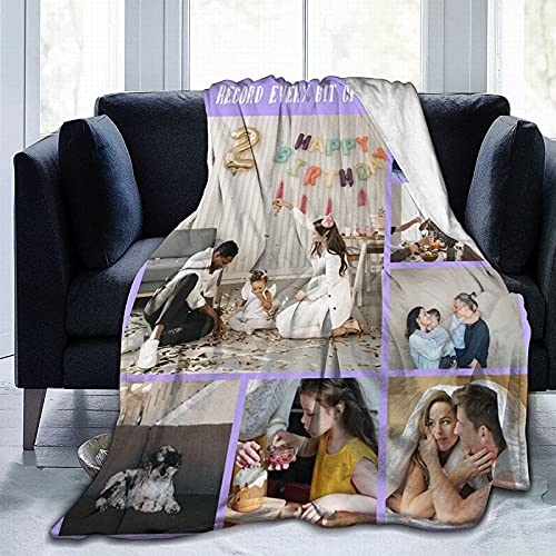 Custom Blanket with Picture Text, Personalized Customized Flannel...