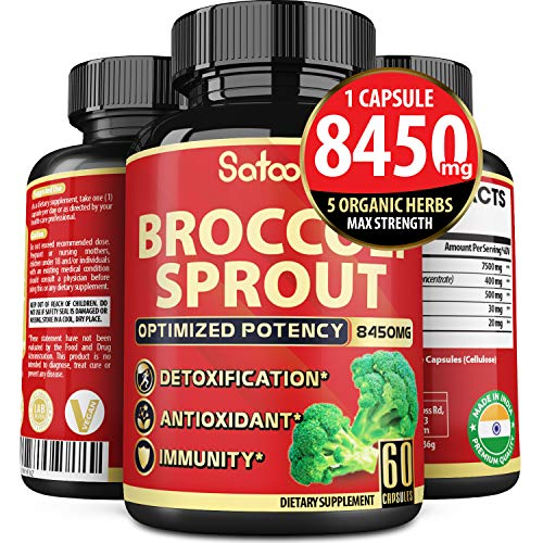 Organic Broccoli Sprout Extract Capsules 8450mg Rich in Fiber Together with Turmeric, Oregano, Green Tea and Black Pepper Extract for Antioxidant and Immunity Support.*