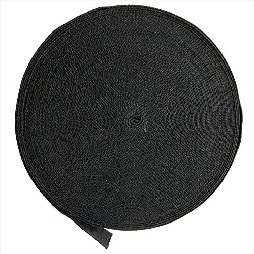 (エスネット) 綿 テープ コットン リボン 幅 25mm 厚さ1.5mm DIY 手芸 無地 ひも ファブリック 持ち手 セット 定規 アクセサリー リボン SN-226-N1(ブラック 45m)