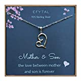 EFYTAL Mom Gifts, 925 Sterling Silver Sideways Heart Necklace for Mother & Son, Mom Necklaces for Women, Best Birthday Gift Ideas, Pendant Mother's Jewelry For Her, Mothers Day