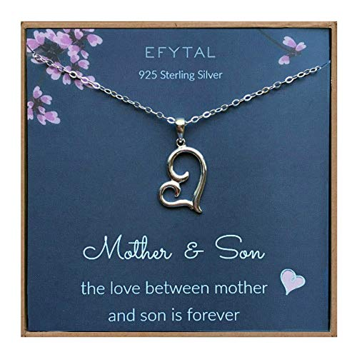EFYTAL Mom Gifts, 925 Sterling Silver Sideways Heart Necklace for Mother & Son, Mom Necklaces for...