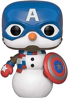 Funko Pop! Marvel: Vacaciones - Capitán América Muñeco de nieve, Multicolor, Talla Única