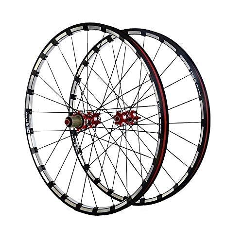 ZHTY Rueda de Bicicleta 26/27,5 Pulgadas par de Ruedas llanta MTB aleación de Doble Pared fresado Trilateral Cubo de Carbono Freno de Disco Bicicleta Ruedas