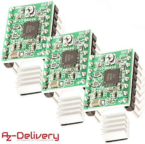 AZDelivery 3 x A4988 Schrittmotor-Treiber-Modul mit Kühlkörper inklusive E-Book!