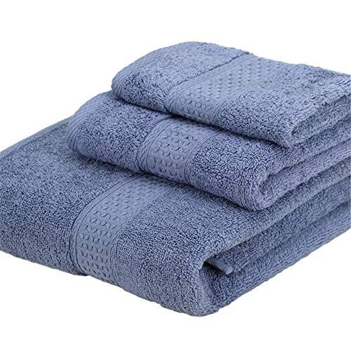 Conjunto De Toallas De Baño De 3 Piezas, 1 Hoja De Baño Extra Grande (70 × 140 Cm), 1 Toallas De Mano (74 × 33 Cm), 1 Toalla Cuadrada (34 × 34 Cm), Algodón Ultra Suave Absorbente,Blue Gray