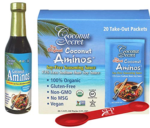 Coconut Aminos Soy Free Sauce Variety Pack: (1) SOY FREE SAUCE, 8 OZ. And (1) COCONUT SECRET COCONUT AMINO PACKETS, 5 OZ. [20 Packets] Organic & Gluten Free BONUS MEASURING SPOON INCLUDED