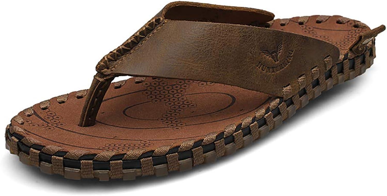 KTOL Breathable Flip-Flops, Leather Sandal Men's Summer Cattle Leather Casual Slide Sandal Waterproof Non-Slip