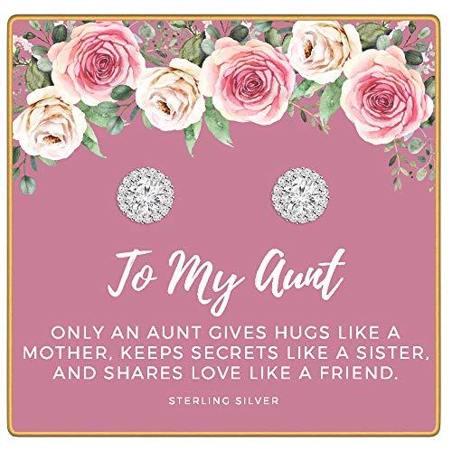 KEDRIAN Aunt Earrings, 925 Sterling Silver, Best Aunt Gifts, for Aunt, Gifts for Aunts, Best Aunt Ever Gift Jewelry, Aunts Stud Earrings, Mother's Day
