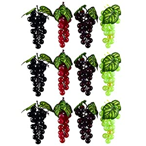 WEFOO 12Bunches Artificial Plastic Fruit Grapes,Simulation Mini Grape Clusters Rubber Fake Grape Bundles Decorative Grapes Hanging Ornaments for Wedding Favor Fruit Wine Décor Faux Fruit Props