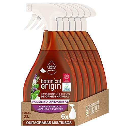 Botanical Origin - Limpiador Multiusos Quitagrasas Ecológico, Fragancia Jazmín Fresco y Lavanda Silvestre - Pack de 6 x 500 ml