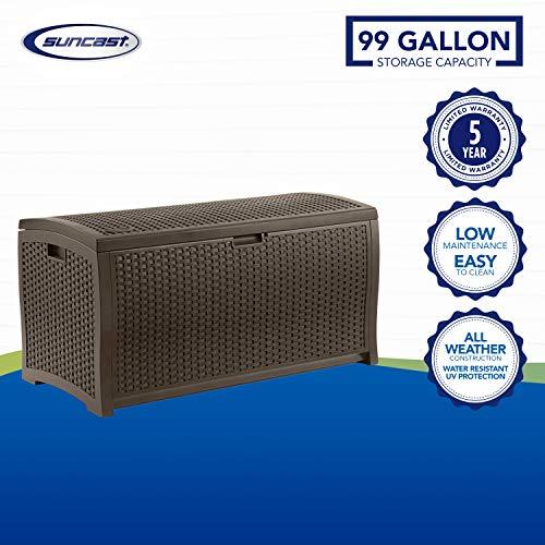 Suncast 99 Gallon Resin Wicker Patio Outdoor Storage Deck Box, Mocha
