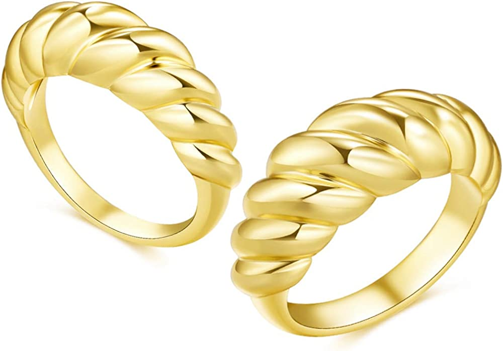 ALEXCRAFT 2PCS 18K Gold Plated Chunky Dome Ring Croissant Braided Twisted Stacking Band Ring Women Statement Rings Size 6 to 9