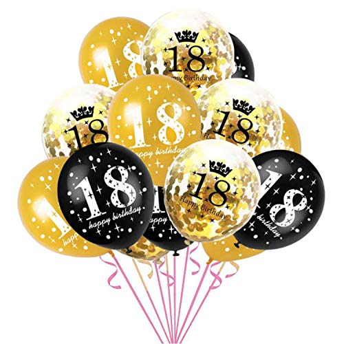 Oblique Unique® Konfetti Luftballon Set für 18. Geburtstag Jubiläum Feier Party Ballons 15 Stück Schwarz Gold Transparent