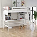 Loft Bed for Kids, Wood Loft Bed with Safety Rail, Desk, Storage Shelves and Ladder,Twin Size (White)