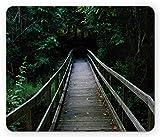 yyndw Alfombrillaratón Puente De Madera del Bosque Oscuro Que Conduce A Los Bosques En El Parque Estatal Allaire Nueva Jersey Gris Carbón Verde Impreso Antideslizante Goma Personalizada