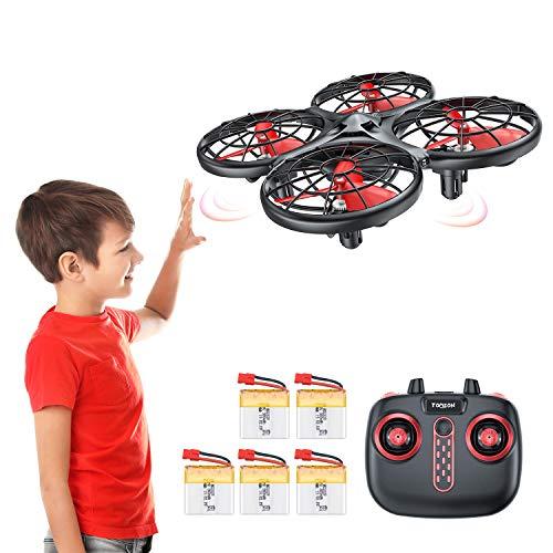 Tomzon D15 Handbetriebene Mini Drohne mit 5 Akkus, Infrarot-Induktion UFO, Kollisionssicherer RC-Quadrocopter, Höhe Halten, 360° Flip, Eine Taste Abheben / Landen Spielzeug Helikopter für Kinder