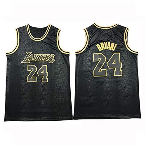 TFGVC Camiseta de baloncesto Laker 24# Kobe transpirable y de secado rápido para deportes al aire libre, malla sin mangas suelta y cómoda versión Mamba negro dorado (S-2XL) Negro-XXL