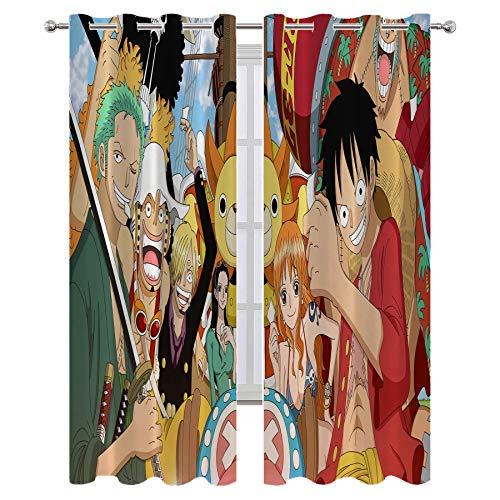 SSKJTC Decoración creativa para el hogar, decoración para sala de estar, anime de una pieza, mono Luffy Roronoa Zoro Nami, arte impreso, sala de estar, dormitorio, cortinas de 137 x 96 cm