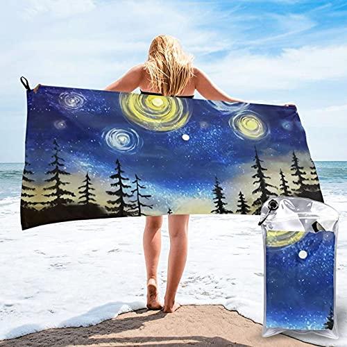 Blue Sky Star Forest Telo da spiaggia Plus Size Beach Towel, Bath Towel, Pool Towels,Microfiber Towel, Shower Towels,Yoga Towels, Quick Dry Towel 27.5'X55'