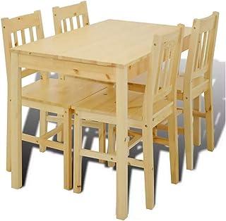 Wakects - Conjunto de mesa de comedor con 4 sillas para cocina con sillas de madera duradera, mesa de comedor con 4 sillas estables para casa, estilo campestre