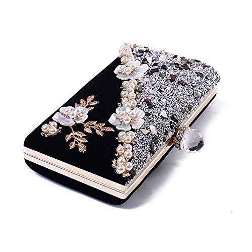 Pochette Donna Pochette Con Fiore Di Perle Per Donna Piccola Borsa Da Sera Nera Vintage In Pietra Elegante Borsa Da Sposa Da Sposa