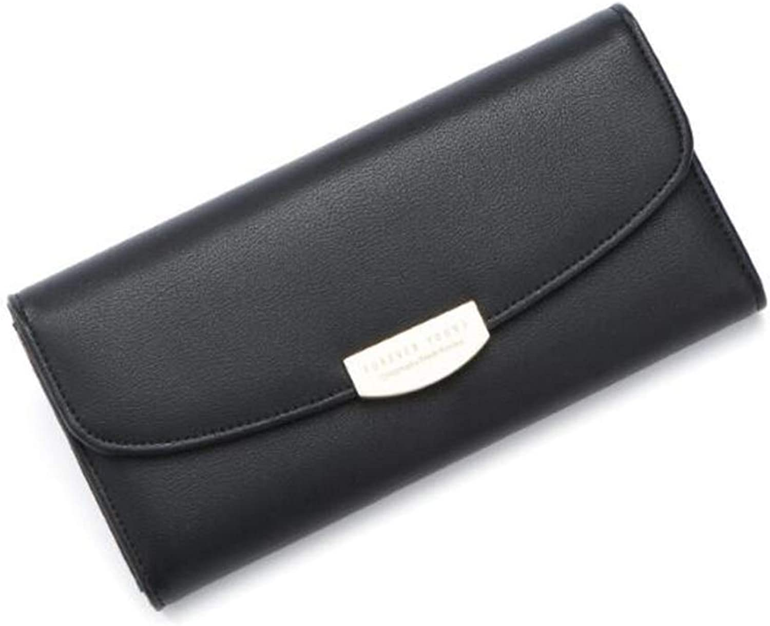Ladies Handbag Tri-fold Super-Popular Women's Commute Long Wallet for School Gift Ideal Wallet (color   Black)