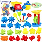 iBaseToy 26 Stück Strand Sandspielzeug Set mit Netzbeutel, Strandspielzeug Formen-Kinderspielset -...