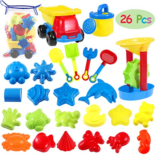 iBaseToy 26 Pieces Beach Sand Toys Set with Mesh Bag - Sandbox Toys Bath Toys for Toddlers, Kids Seaside Sand Castle Tool Kit Includes Dump Truck, Sand Wheel, Shovels, Rake, Watering Can, Sand Molds
