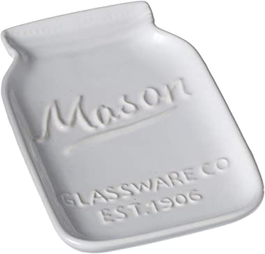 "Midwest CBK 6"" White Ceramic Mason Jar Trinket Dish"