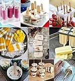 Freenfitmall Palos de helado naturales, palillos de piruleta, paletas de madera, palillos de manualidades, palillos de helado para proyectos de manualidades, identificadores de jardín (50 piezas)