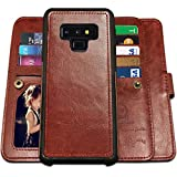 Galaxy Note 9 Cases, Magnetic Detachable Lanyard Wallet Case with 9 Card Slots, Kickstand, Hnad Strap for Galaxy Note 9, CASEOWL 2 in 1 Folio Flip Premium Leather Removable TPU Case(Brown)