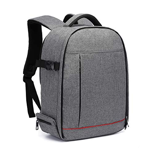 Kono Camera Backpack Waterproof Shockproof Case Bag for SLR DSLR Camera Lens Flash and Accessories Large Capacity Laptop Rucksack for Work School College Grey