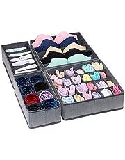 House of Quirk Set of 4 Foldable Storage Box Drawer Divider Organizer Closet Storage for Socks Bra Tie Scarfs (Linen Dark Grey)