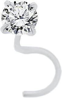 Lavari - 14K Gold 3mm White Cubic Zirconia Nose Ring Curve Stud Twist Screw 22G