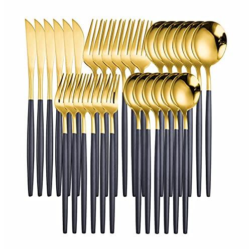 WEARRR Set de Cubiertos de Acero Inoxidable Conjunto de vajillas de Plata Negra 30 unids Forks Cuchillos Cocina Cocina Cuadros de vajilla Conjunto ecológico Amistoso (Color : B g 30pcs)