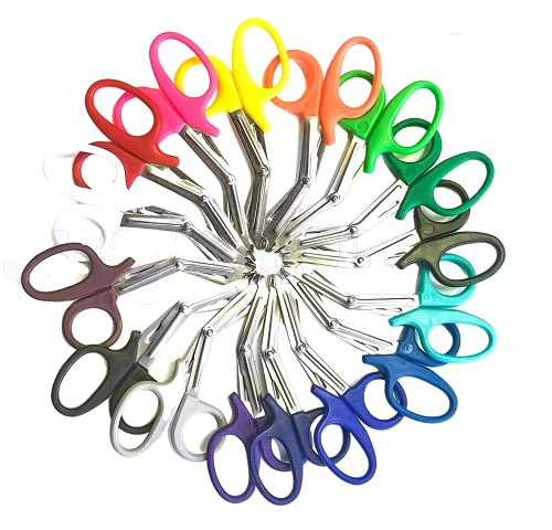 20 pcs EMT Trauma Shear Heavy Duty Assorted Rainbow, Ideal for EMS, Nurse, Medic, Police and Firefighter, Strong Enough to Cut A Penny in Half