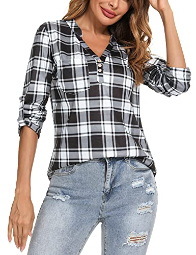Irevial Camisa de Cuadros Mujer Elegante Blusas de Manga Larga Clásica Check Shirt con Botones Camisetas Casual Oficina con Cuello en V para Primavera Verano y Otoño Blanco+Negro, M