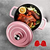Non-Stick Dutch Oven with Lid, Enameled Cast Iron Casserole Dish with Lid, Non-Stick Cooking Pan Pot Dutch Oven for Kitchen, PFOA Free