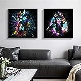 ganlanshu Cuadro En Lienzo-Gorila Mono Imprimir en Lienzo para Obras de Arte en póster decoración del hogar Sala de estar70x70cmx2pcsPintura sin Marco