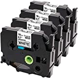 Oozmas Compatible Label Tape Replacement for TZe-241 TZ241 Brother Ptouch Label Tape 18mm 0.7 Inches Black on White Work with Brother Label Maker PT-D400AD PT-D600, 4 Pack