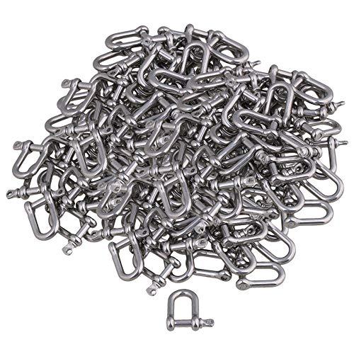 CNBTR Lot de 100 anneaux en D M4 argentés en acier inoxydable 304