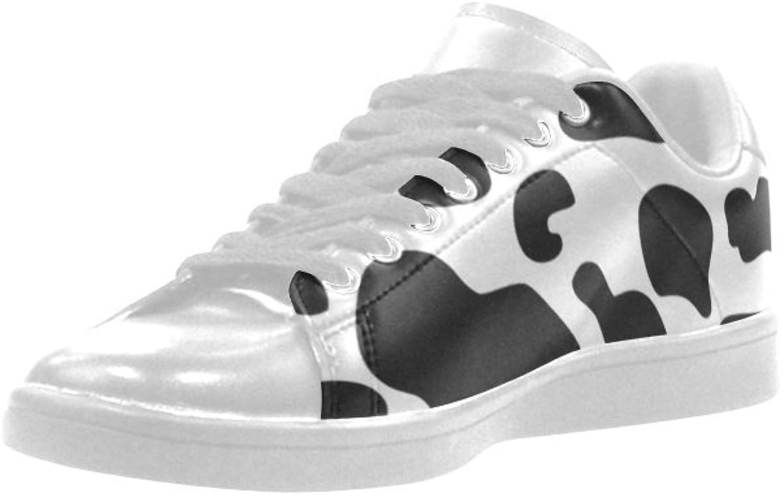 HUANGAISY HUANGAISY HUANGAISY Sneeaker Cow Mönster Svart och Vit Mikrofiber Män's skor  gratis frakt