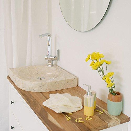 wohnfreuden marmer wastafel Samba 45 cm ✓ halve cirkel gepolijst crème ✓ natuursteen wastafel wastafel steenwasschaal natuursteen opzetwastafel voor uw badkamer ✓ snel