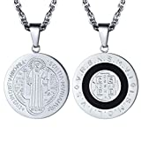 PROSTEEL Vintage Saint Benedict Necklace Religious Cross Medal Pendant French Round Talisman Amulet Stainless Steel Men Women Catholic Christian Jewelry