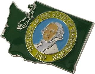 WIZARDPINS State Shape of Washington and Washington Flag Lapel Pin