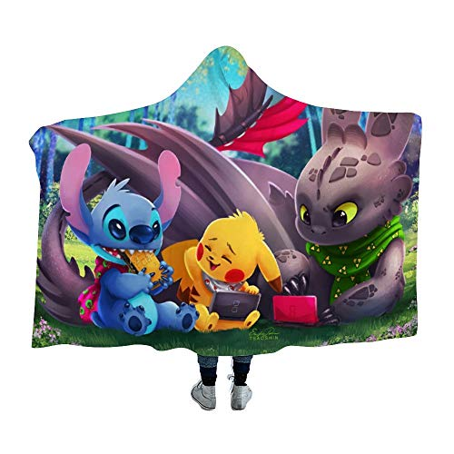 Hooded Blanket for Poke-mon fans,Pikachu Stitch Toothless Night Fury,Arctic velvet Wearable Super Soft Warm Throw Blanket,For Winter Sofa School Home Travel Picnic Carrying, Kids, 39x51 inch