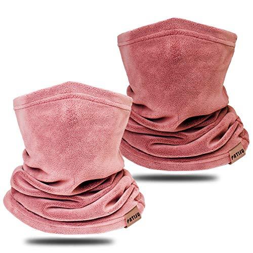 Neck Warmer Winter Neck Gaiter Face Mask Balaclavas for Women Men, Soft Fleece Face Cover Mask for Skiing Motorcycle (Pink/Dark Pink, 2)